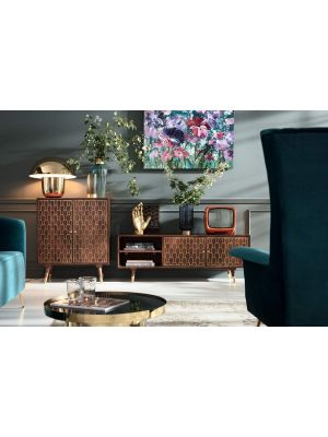 Kare Design Muskat TV-Meubel 2-Deurs - B140 x D35 x H50 cm - Bruin Mangohout