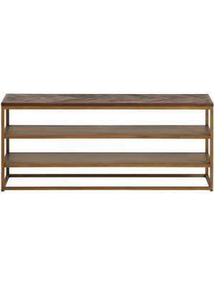 24Designs Metropolis TV-meubel - B130 x D40 x H56 - Visgraat Acaciahout - Goudkleurig Metaal