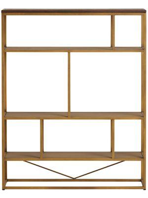 24Designs Metropolis Boekenkast - B110 x D30 x H140 - Visgraat Acaciahout - Goudkleurig Metaal