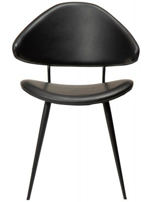Dan-Form Napoleon Eetkamerstoel – Set van 2 – Zwart Kunstleer – Metalen Poten