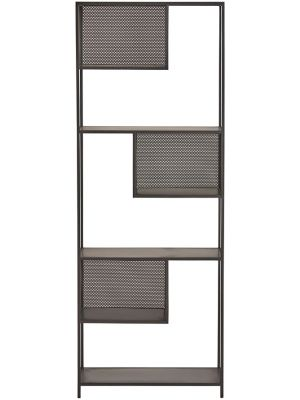 24Designs Hitt Boekenkast - B70 x D35 x H188 cm - Zwart Metaal