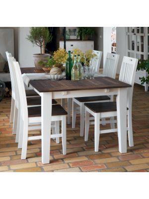 Rowico Nottingham Verlengbare Eettafel - Bruin Tafelblad - Witte Poten - L200 x B100 x H75 cm