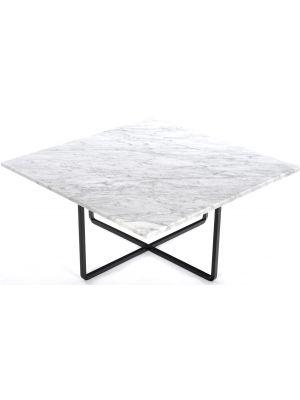 OxDenmarq Salontafel Ninety - L80 x B80 x H37 - Zwart Onderstel - Wit Marmer