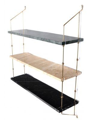 OxDenmarq Wandrek Morse - 3 Planken - Marmer Multikleur - Messing Frame