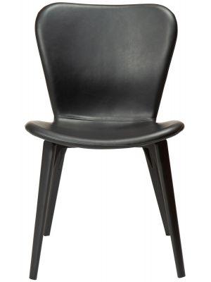 Dan-Form Paragon Eetkamerstoel – Set van 2 – Zwart Kunstleer – Essenhout Poten