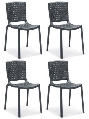 Pedrali Tatami 305 Stapelbare Stoel - Set van 4 - Kunststof - Antraciet Grijs