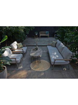 Exotan Orlando 5-persoons Loungeset – Aluminium Koffietafel – Grijze Kussens
