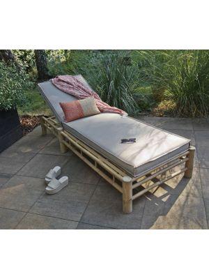 Exotan Bamboo Sunlounger – Outdoor Ligbed - Bamboe Frame – Taupe Spunpoly Kussens
