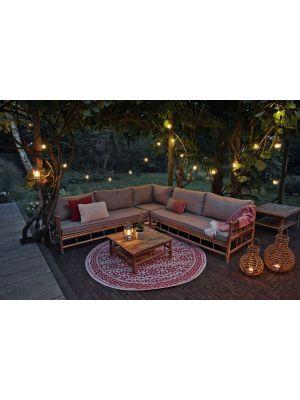 Exotan Bamboo Hoek Loungeset Loungebank + Koffietafel Inclusief Kussens
