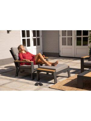 Exotan Valerie 2 x Loungestoel + 2 x Voetenbank - Antraciet - Grijze Kussens