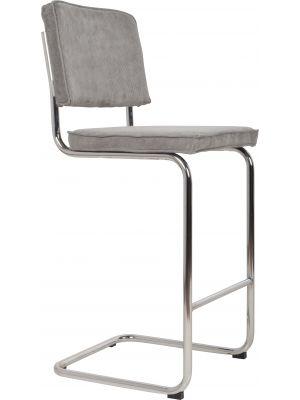 Zuiver Barkruk Ridge Rib - Zithoogte 75 cm - Cool Grey