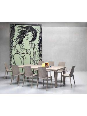 SCAB Lucrezia Armleuningen Tuinstoel & Terrasstoel - Set van 4 - Kunststof Brons