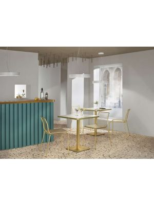 SCAB Tiffany Ronde Bistro Eettafel 70 cm - Wit Marmer Effect Tafelblad - Messing