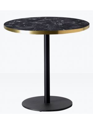 SCAB Tiffany Ronde Bistro Eettafel 70 cm - Zwart Marmer Effect Tafelblad - Zwart Onderstel