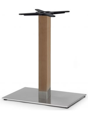 SCAB Tiffany Tafelonderstel Natural Beuken - Hoogte 73 cm - Rechthoekige Voetplaat - Geborsteld RVS