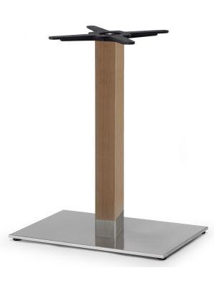 SCAB Tiffany Tafelonderstel Natural Beuken - Hoogte 73 cm - Rechthoekige Voetplaat - Gepolijst RVS