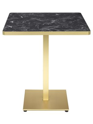 SCAB Tiffany Vierkante Bistro Eettafel 80x80 cm - Marmer Effect Tafelblad - Messing Onderstel