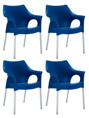 SCAB Ola Tuin en Terrasstoel - Set van 4 - Blauw