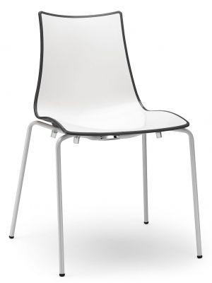 SCAB Bicolore Stoel - Set van 4 - Antraciet/Wit - 4-Poots Wit