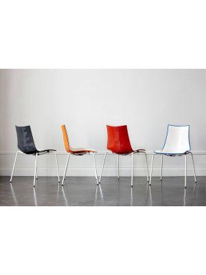 SCAB Bicolore Stoel - Set van 4 - Oranje/Wit - 4-Poots Wit