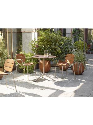 SCAB SI-SI Tuin & Terrasstoel - Set van 2 - Mahonie Hout - Duifgrijs