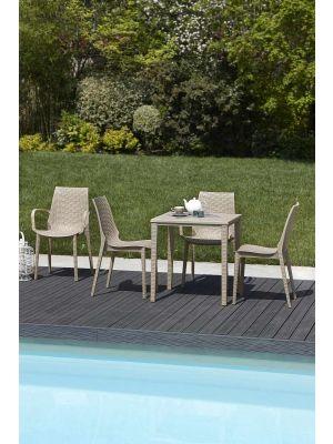 SCAB Lucrezia Tuinstoel en Terrasstoel Stapelbaar - Set van 6 - Kunststof Ivoor Wit