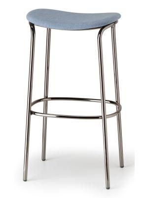 SCAB Trick Barkruk - Zithoogte 75 cm - Stof Lichtblauw - Zwart Metalen Onderstel