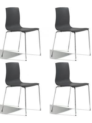 SCAB Alice Stapelbare Stoel - Set van 4 - Antraciet - Chromen Poten