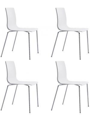 SCAB Alice Stapelbare Stoel - Set van 4 - Ivoor Wit - Chromen Poten