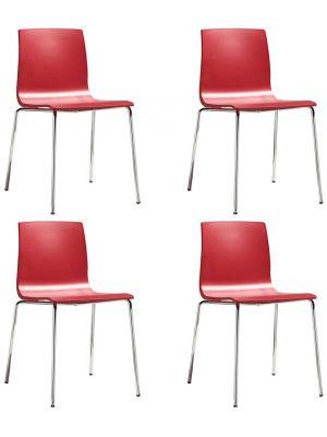 SCAB Alice Stapelbare Stoel - Set van 4 - Rood - Chromen Poten
