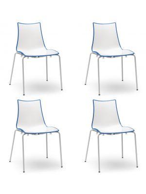 SCAB Bicolore Stoel - Set van 4 - Blauw/Wit - 4-Poots Wit