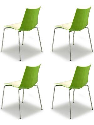 SCAB Bicolore Stoel - Set van 4 - Groen/Wit - 4-Poots Chroom
