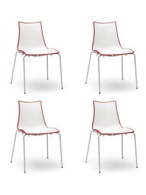 SCAB Bicolore Stoel - Set van 4 - Rood/Wit - 4-Poots Wit