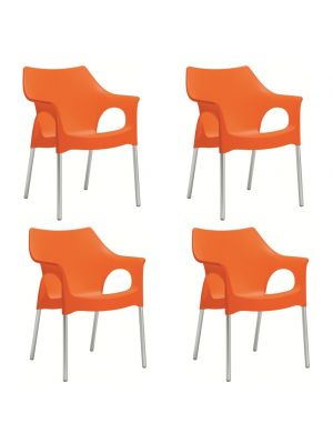 SCAB Ola Tuin en Terrasstoel - Set van 4 - Oranje