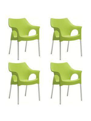 SCAB Ola Tuin en Terrasstoel - Set van 4 - Pistache Groen