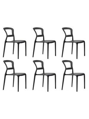 SCAB Pepper Stapelbare Stoel - Set van 6 - Antracietgrijs