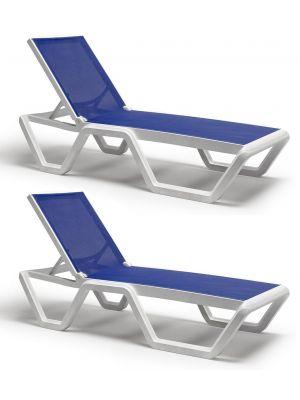 SCAB Vela Verstelbaar Ligbed met Wielen - Set van 2 - Wit met Blauwe Stof