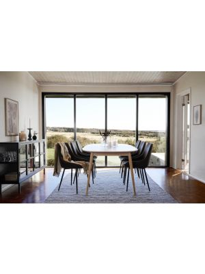 Rowico Dawsone Uitschuifbare Ovale Eettafel - Whitewash Eikenfineer - L160 x B105 x H75 cm
