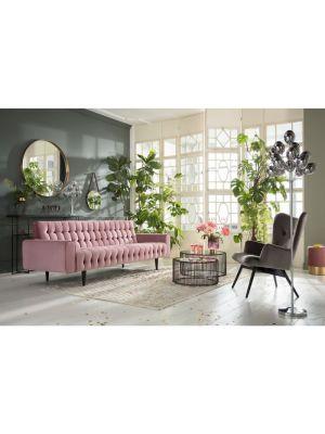 Kare Design Milchbar Velvet 3-Zits Bank - Breedte 233 cm - Roze Fluweel
