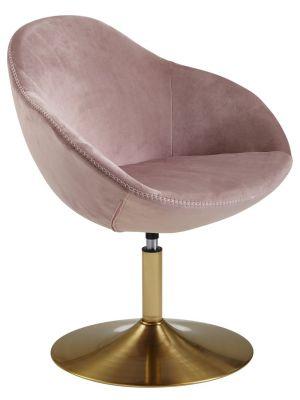 24Designs Draaibare Loungestoel Sarah Velvet  - Poederroze Fluweel - Goudkleurige Trompetvoet