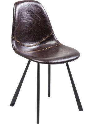 Kare Design - Stoel Lounge - Set van 2 - Bruin Kunstleer - Zwarte Metalen Poten