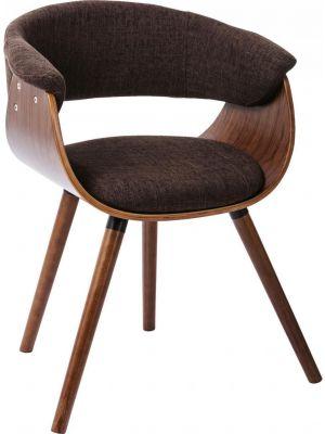 Kare Design Monaco Stoel - Set van 2 - Stof Bruin - Walnoot Houten Poten