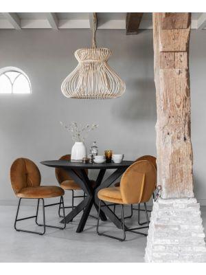 24Designs Timeless Shape Ronde Eettafel Diameter 130 - Hoogte 78 cm - Teakhout Zwart