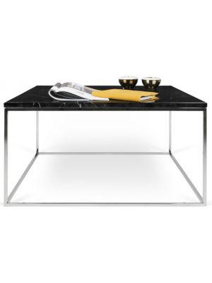 TemaHome Salontafel Gleam L75 x B75 x H40 cm - Zwart Marmer - Chromen Onderstel
