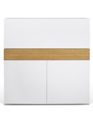 TemaHome Bureau Focus - L110 x B42 x H109 cm - Mat Wit/Eiken