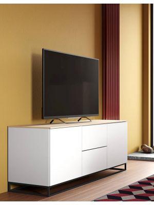 TemaHome Join 180L1 TV-Meubel - 2 deuren/2 laden - Mat Wit/Eiken- Metalen Poten