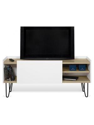 TemaHome Nina TV-Meubel - B142 x D42 x H59 cm - Wit met Eiken - Metalen Poten
