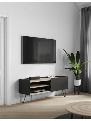 TemaHome Nina TV-Meubel - B142 x D42 x H59 cm - Zwart met Eiken - Metalen Poten