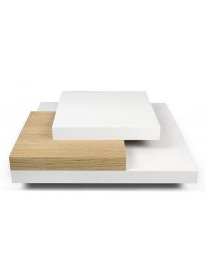 TemaHome Salontafel Slate - L90 x B90 x H30 cm - Mat Wit - Eiken