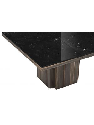 TemaHome Vierkante Tafel Dusk 130 - Tafelblad Zwart Marmer - Donker Houten Onderstel
